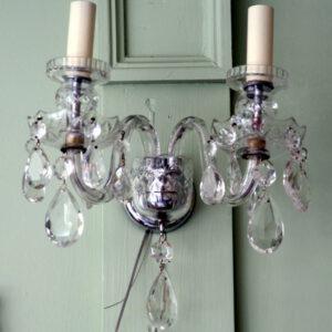Pair Bohemian glass wall lights